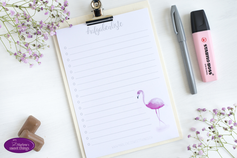 Flamingo Aufgabenliste Printable 4
