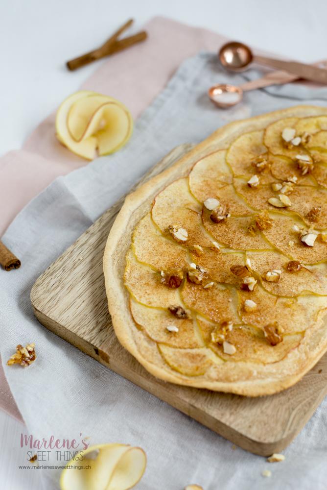 Apfel Flammkuchen mit karamellisierten Mandeln