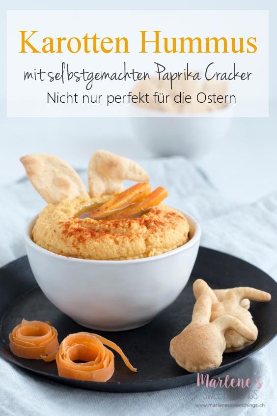 Karotten Hummus mit Paprika Cracker