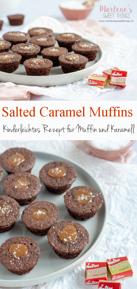 Schokolade Brownie Muffin mit flüssigem gesalzenen Karamell Kern
