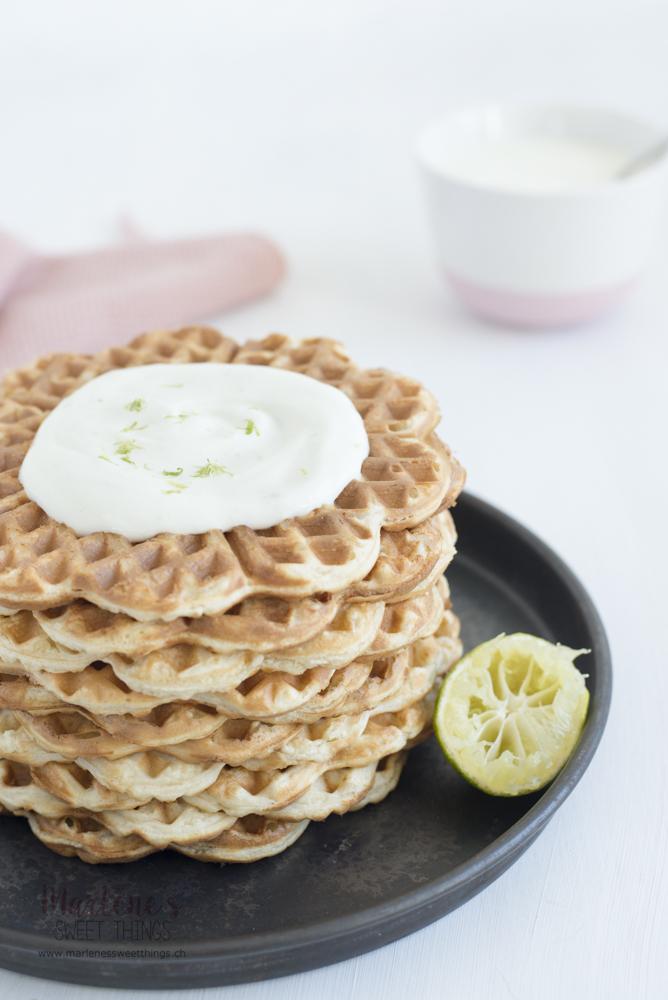 Limetten Dinkel Joghurt Waffeln